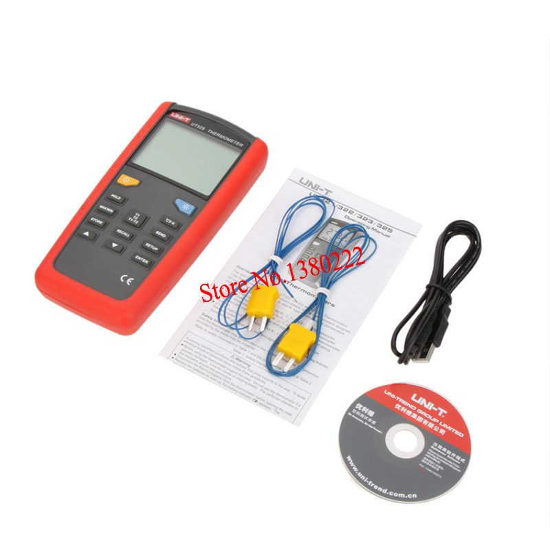 ФОТО UNI-T UT325 Digital Contact Type Thermometers Temperature Meter Tester T1-T2 Dual Input with High/Lower Alarm & Auto Calibration
