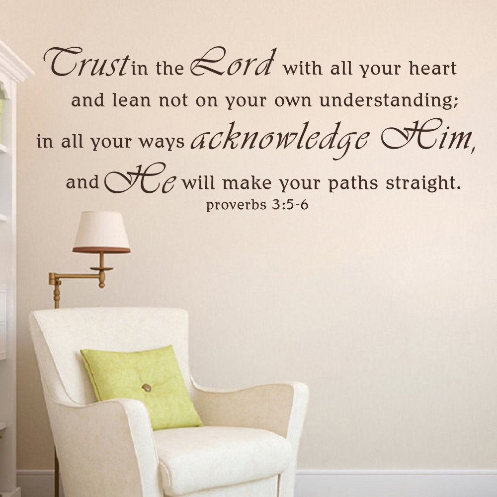 Trust In The Lord With All Your Heart Vinyl Decal Wall Sticker Words Lettering