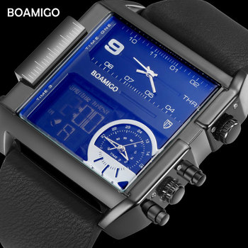 Мужские крупные военные наручные часы BOAMIGO, черного цвета, кварцевые, спортивные, с кожаным ремешком, с 3 часовыми поясами и светодиодным дис...