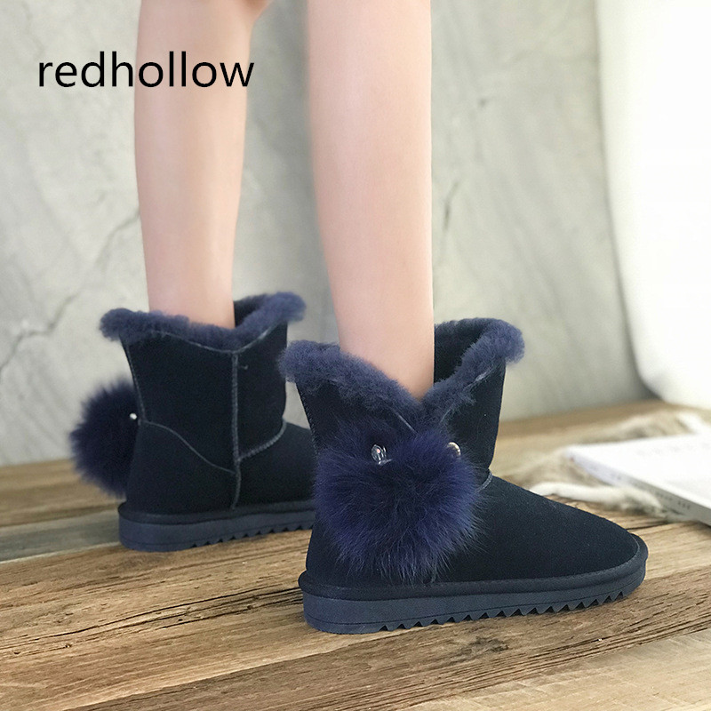 Snow Boots Winter Women Shoes Genuine Leather Winter Boots Warm Ankle Snow Boots Female Fur Plush High Quality Botas Mujer women boots winter shoes female plush inside snow boots high quality flock ankle boots lace up flats women shoes botas fashion