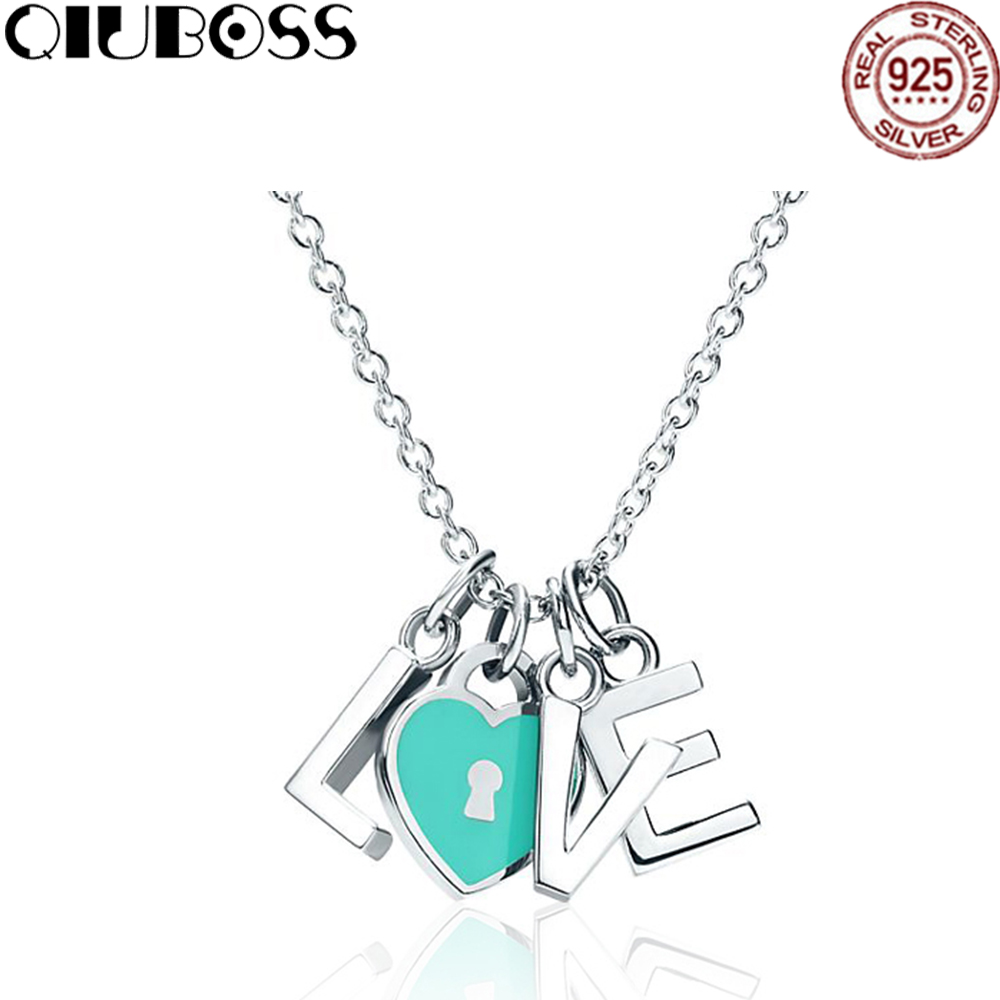 QIUBOSS S925 Necklace LOVE Block Chain Love Lock Blue Sterling Silver TiffanyNecklace Clavicle Small Pendant Tanabata necklace love imitation silver chain letter personality clavicle 925 sterling silver paved rainbow cubic zirconia love necklaces