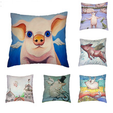 Magic Angel Pig Cushion Cover Personality Lively Pillw Lovely Playful Driving Fly Pillowcase Home Decoration Throw Pillows