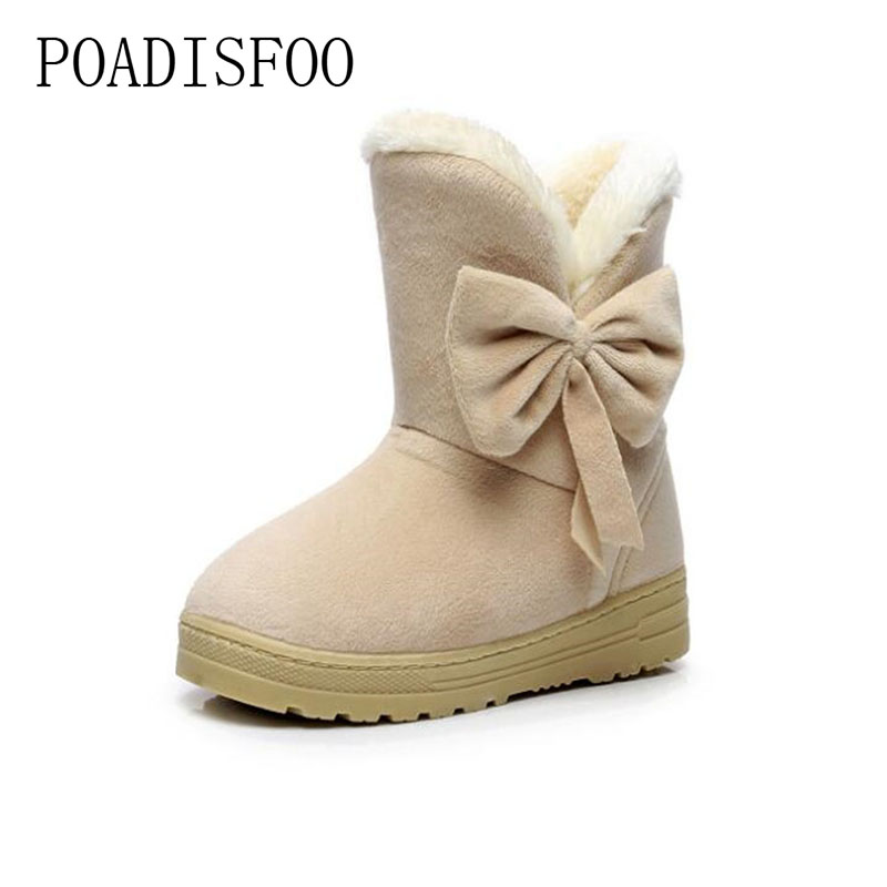 POADISFOO 2017 New Women snow boots bow female warm winter flat cotton boots winter Plush shoes
