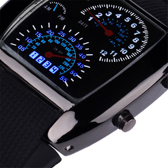 Fashion Aviation Turbo Dial Flash LED Watch Gift Mens Lady Sports Car Meter 9.6
