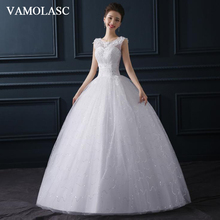 VAMOLASC Illusion Pleat O Neck Lace Flowers Appliques Ball Gown Wedding Dresses Crystal Tank Backless Bridal Gowns