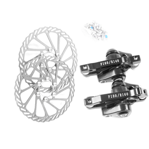 Stainless Steel Bicycle Disc Brake Set Kit Bike Rotor with Clipers Rear Wheel Brake F:180/ R:160 Front Wheel Brake F:160 R:140