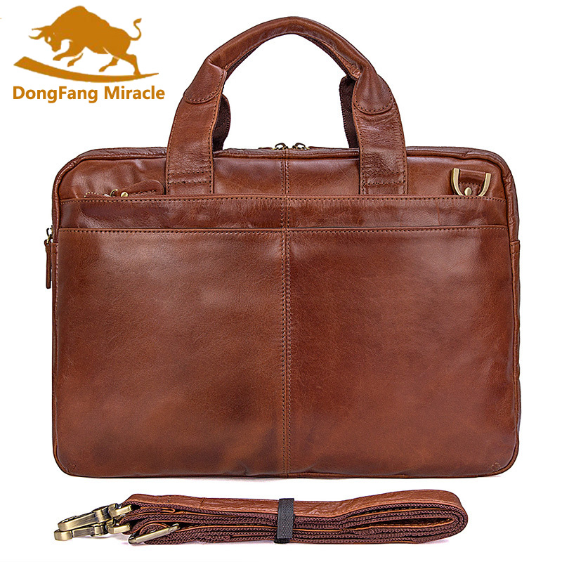 New Men Crazy Horse Leather Portfolio Laptop Bag men High quality Leather Briefcase Messenger Shoulder Handbag