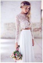 2015 New Listing O-Neck Long Sleece Lace Vestido De Novia Beach Wedding Dress Trouwjurk Two Piece Gown Bridal