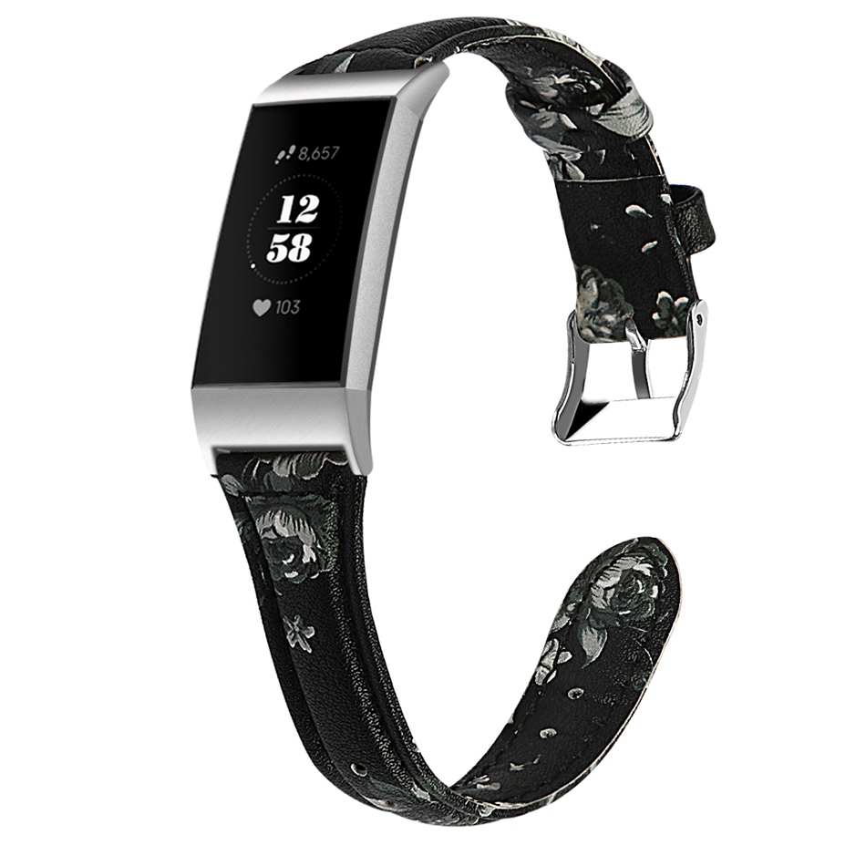 [ 8 Colors]  S/L Size Leather Strap For Fitbit Charge 3 Smart WatchReplacement Band Printing Bracelet Casual Simple Men Women