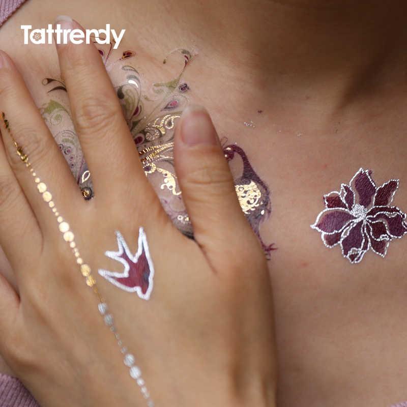 フラッシュメタリック防水タトゥー一時色ゴールドシルバー女性のファッション孔雀の羽の鳥のデザインステッカーにボディ YH119