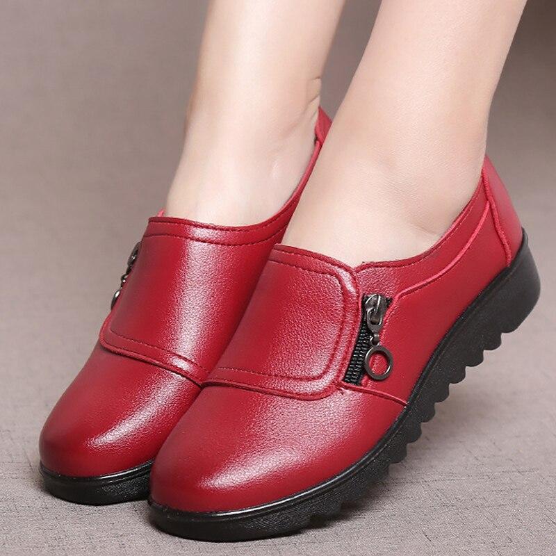 Loafers flats sapatos de superstar sapatos mulher dedo do pé redondo sólida costura zip antiderrapante sapatas das senhoras tamanho grande 35-41 sapatos