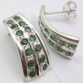 Silver emrald Multi Gem BEAUTIFUL Stud POST Earrings 2.2 CM