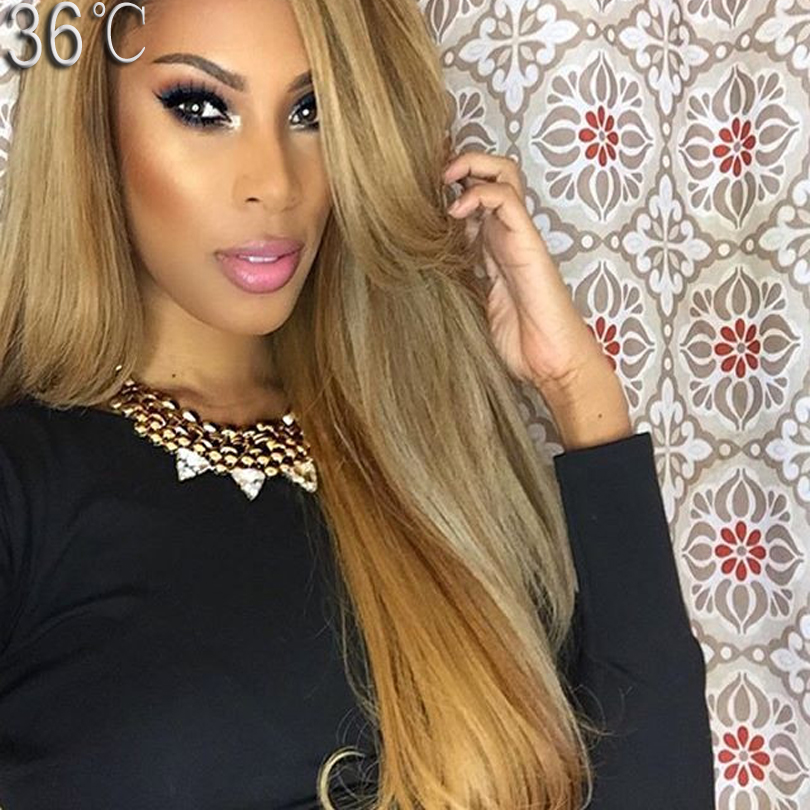 #27 Blonde Human Hair Wig Glueless Full Lace Wig Human Hair Chinese Virgin Hair Blonde Lace Front Wig With Baby hair free Part