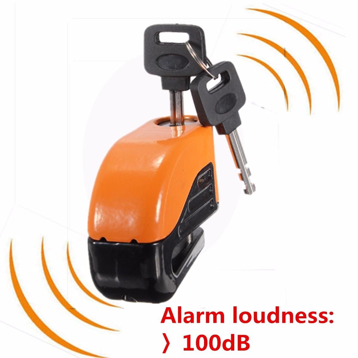Orange 6mm Security Motorcycle Alarm Scooter Motorbike Lock Sturdy Wheel Disc Brake Lock Safety Alarm / key