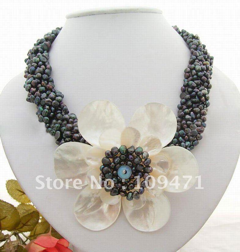 Красивые! 6 Strds ожерелье с черным жемчугом и ракушкой