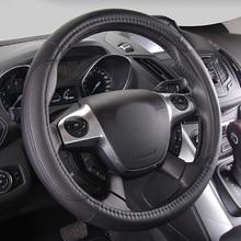 Крышка рулевого колеса автомобиля натуральная кожа для дам Универсальный руль чехлы для ford 38 см 15 дюймов подкладке Аксессуары