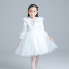 Fashion Winter Girl Warm Dresses Princess Hollow Thick Long Sleeve Warm Vestidos Christmas Elegant Solid Velet Dress Clothing