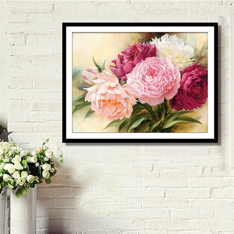 DIY 5D Full Diamonds Broderi Peony Blommor Runda Diamantfärg Crossstitch Kit Diamond Mosaic Home Decoration 40 * 30cm