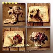 European classic retro flower oil painting art printing vintage home decor american country style canvas wall