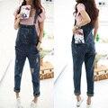 Женская мода синий джинсовые комбинезон женский отверстие спагетти ремень комбинезон брюки бесплатная доставка