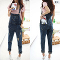 Women's fashion blue denim jeans rompers female hole spaghetti strap jumpsuit pants free shipping
