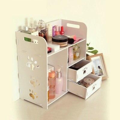 DIY Modern White Wooden Storage Box Desk Organizer For Cosmetics,Desktop Storage Shelf Cabinet Wood Makeup Organizer Drawers makeup organizer box