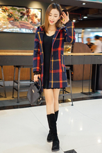 2016 spring new woolen coat Girls long paragraph Slim plaid hooded double sided wool coat Women