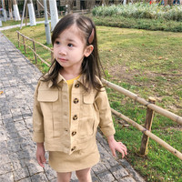 High Quality Spring Baby Girls Clothing Set Fashion Kids Full Sleeve Soild Coat++Skirt Two Piece Toddler Girl Outfits 2 8Yrs
