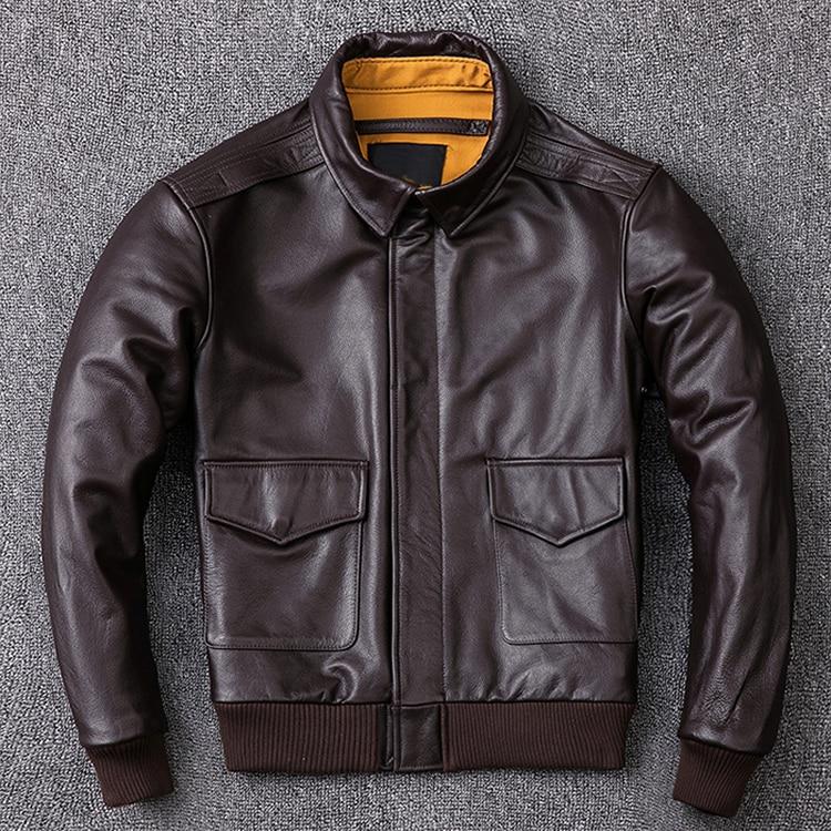 HTB1i0 TXiHrK1Rjy0Flq6AsaFXaq MAPLESTEED Men Leather Jacket Military Pilot Jackets Air Force Flight A2 Jacket Black Brown 100% Calf Skin Coat Autumn 4XL M154