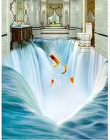 Customized 3d wallpaper 3d floor painting wallpaper Big waterfall water 3 d floor tile stereograph beauty Floor painting
