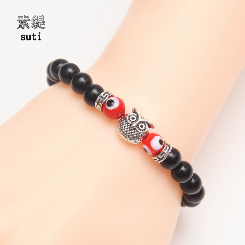 SUTI 2017 Natural Stone Bracelet Men Women Tiger Eyes Owl Gold/Silver Bracelets & Bangles Charm Combination Glass Evil Eye Beads
