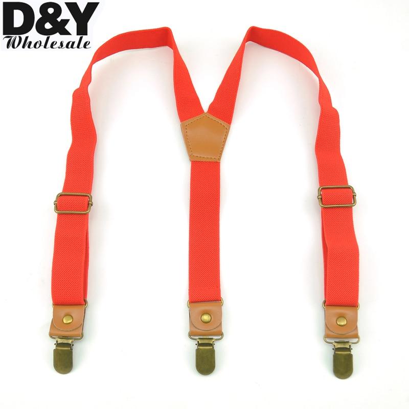 CLOSE OUT GOOD Clips KIDS Suspenders Red Color Children/Boys/Girls Suspender Elastic Braces Slim Suspender Y-Back Suspenders