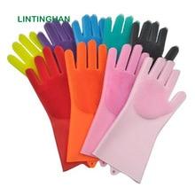 Magic silicone gloves housework dishwashing gloves kitchen brush bowl gloves cleaning decontamination non-slip gloves