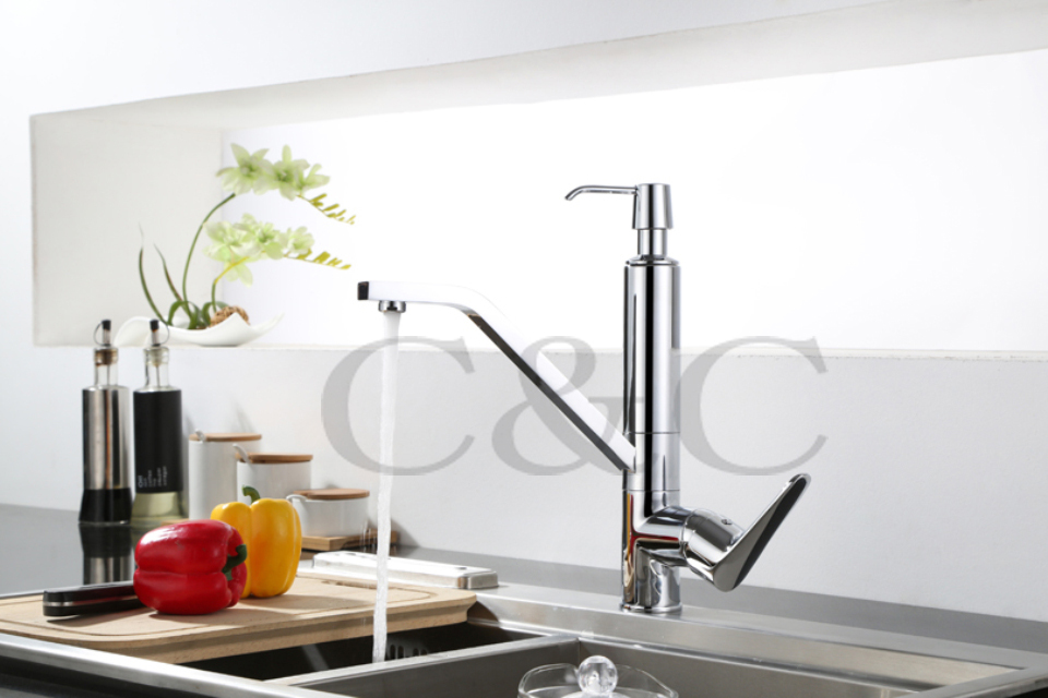 Contemporary Chrome Solid Brass Kitchen Sink Mixer Tap Kitchen Faucet Vanity Faucet With Soap Dispenser
