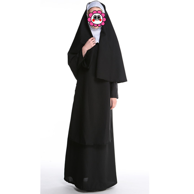 Hot Sexy Nun Costume Adult Women Cosplay Dress With Black Hood For Halloween Costume Carnival Cosplay Party Dress Black Costume