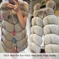QC8046 BIG SALE FRETE GRÁTIS todas as fotos reais 14 cores em estoque hot new natural de pele de raposa longo colete de pele de raposa verdadeiro inverno gilet