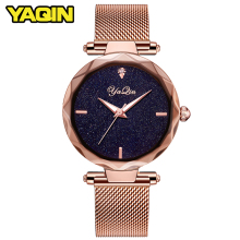Купить с кэшбэком YAQIN luxury brand fashion women watch ladies steel mesh strap rose gold bracelet watch quartz watch female clock reloj mujer