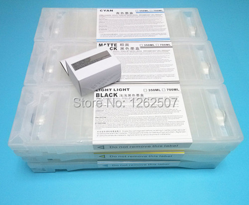 700ml*9colors per set refill ink cartridges For Epson 7890 9890 7908 9890 Printer with two chip resetter excellent 700ml refill ink cartridge for epson stylus 9890 large format printer with chip resetter