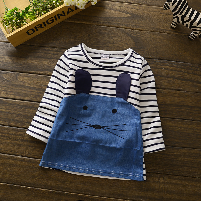 2016 Baby Princess Girls Toddler for Striped Long-sleeved Denim Dress 1-2 Year Birthday Baby Dresses for Children Clothes