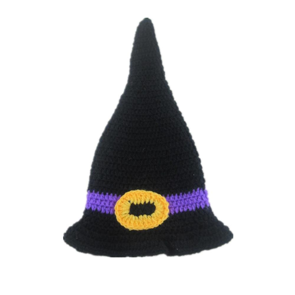 Baby Handmade Beanies Hat Newborn Witch Crochet Knitted Costume Hats Caps Newborn Photography Props Cap 0-4M