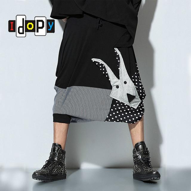 Moda mens hip hop estilo bezerro-comprimento harem pants gota gancho algemadas padrão dos desenhos animados calças de retalhos para moderno