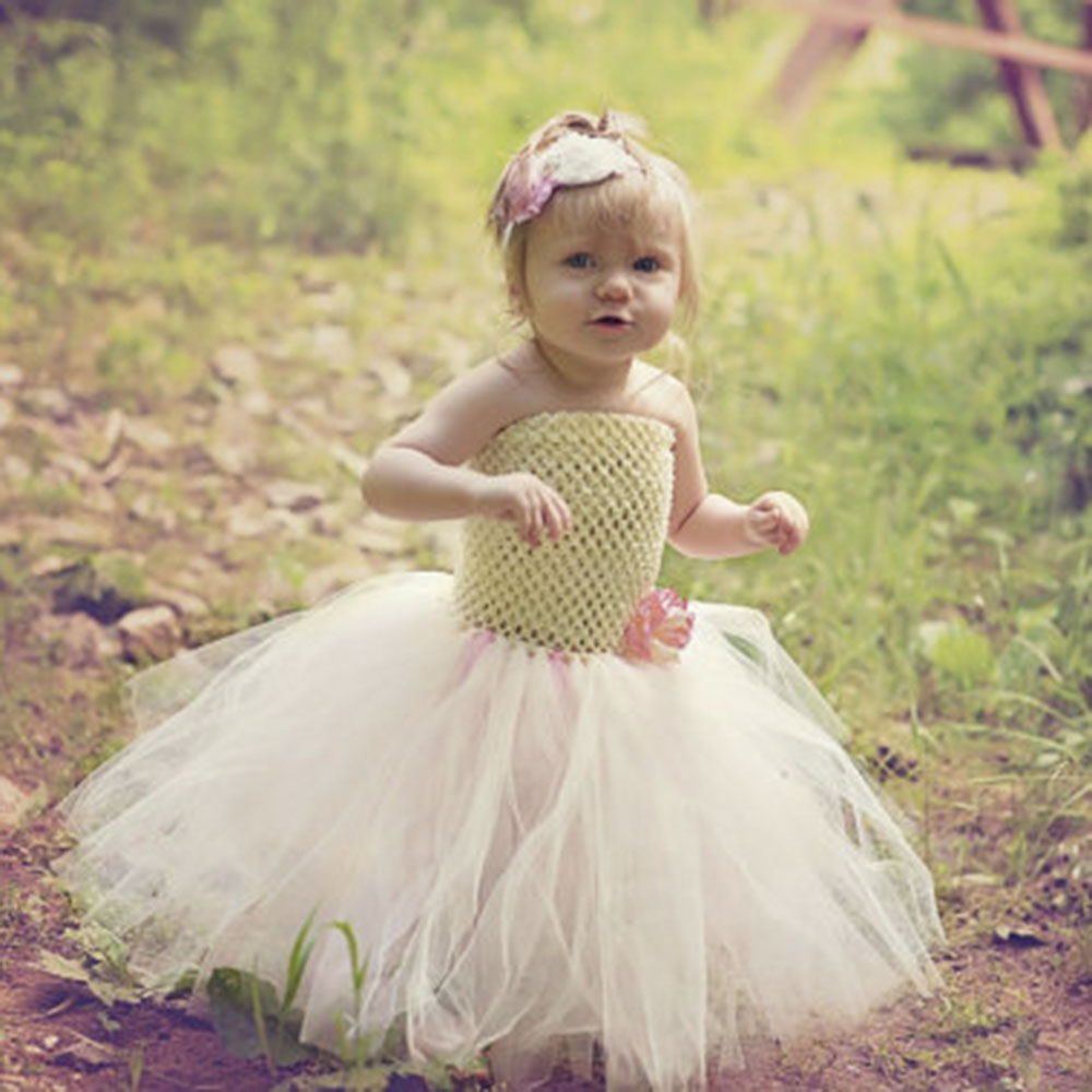Ivory And Pink Flower Girl Baby Wedding Tutu Dress Tutu Dresses For