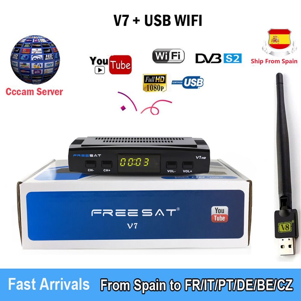 Satellite TV Receiver decoder V7 HD DVB S2+USB Wfi Receptor with 5 lines Europe Cline account support power VS freesat V7S GIFT-in Satellite TV Receiver from Consumer Electronics