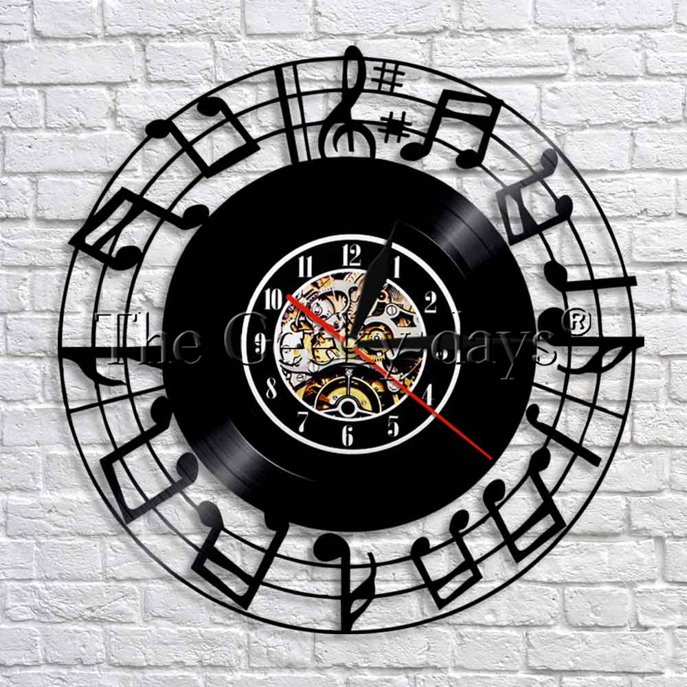 Language In 45 And 47 Stella Street: 1Piece Vintage Record Sheet Music Notes Art Clock Modern