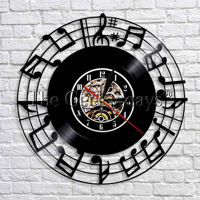 1piece vintage record sheet music notes art clock modern design 1piece vintage record sheet music notes art clock modern design vinyl record led lighting wall clock aloadofball Image collections