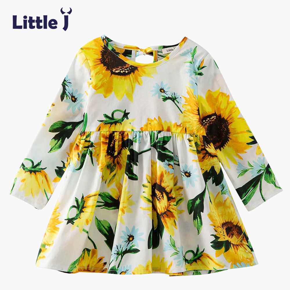 Printed Baby Girls Dress Spring Autumn Long Sleeve Princess Dress Casual Costume Cotton Girls Dresses Kids Clothes Tutu Vestidos autumn girls children s kids baby long sleeve lace mesh tutu patchwork basic dresses princess wedding party dress vestidos s5691