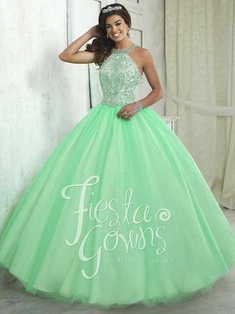Gorgeous Girls Party Ball Gowns Halter Neck Sparkly Beaded Tulle Mint  Burgundy Quinceanera Dresses 2017 Sweet 16 Dresses XQ1 729f657f3fb8