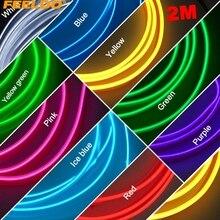 цена на 5Pcs 2M 9-Color Flexible Moulding EL Neon Glow Lighting Rope Strip With Fin For Car Decoration