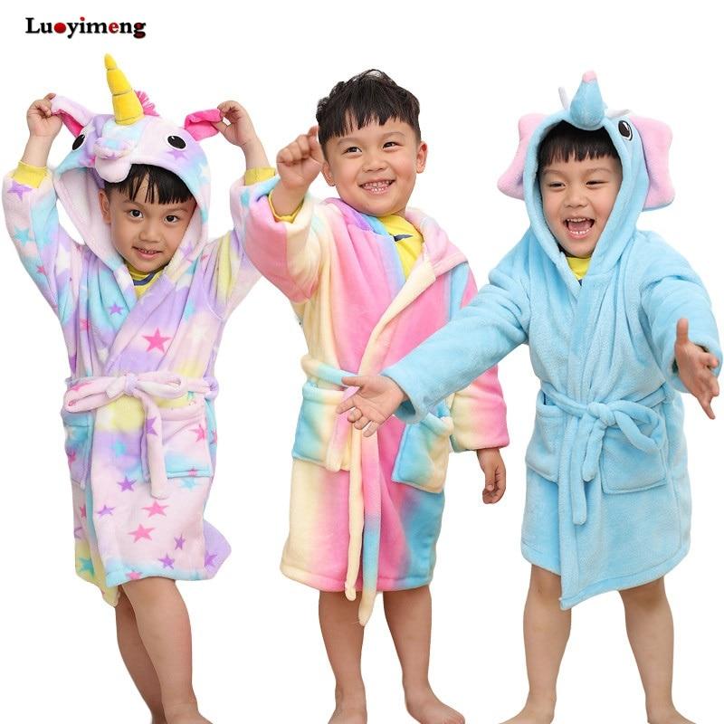 Girls Boys Bathrobe Unicorn Hooded Towel for Kids Children Flannel Unicornio Bathrobes Pajama Cartoon Cotton Bath Robe Sleepwear