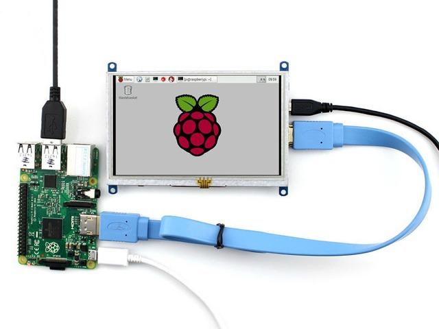 5 pçs/lote Raspberry Pi 5 polegada HDMI Módulo Display LCD Touch Screen Suporte Raspberry Pi 3 B/2 B A/A +/B/B +/Beaglebone Preto